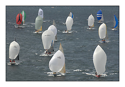 Sailing - The 2007 Bell Lawrie Scottish Series hosted by the Clyde Cruising Club, Tarbert, Loch Fyne..Brilliant first days conditions for racing across the three fleets...Class 2 Downwind fleet leaders Lafayette GBR2 and Rosie IRL789.