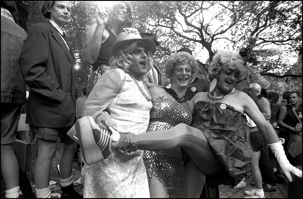 Heidi Dorow, Jay Blotcher, David Litke, Jamie Leo and David Robinson at Wigstock, an annual outdoor drag festival that began in the 1980s in Tompkins Square Park in the East Village of New York City that took place on Labor Day. 1989