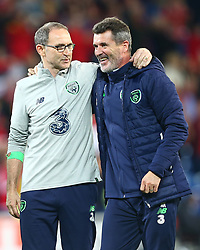 October 9, 2017 - Cardiff City, Walles, United Kingdom - Martin O'Neill manager of Republic of Ireland and Roy Keane celebratees..during World Cup Qualifying - European Group D match between Wales against Republic of Ireland at Cardiff City Stadium Cardiff City Football Club on 09 Oct  2017  (Credit Image: © Kieran Galvin/NurPhoto via ZUMA Press)