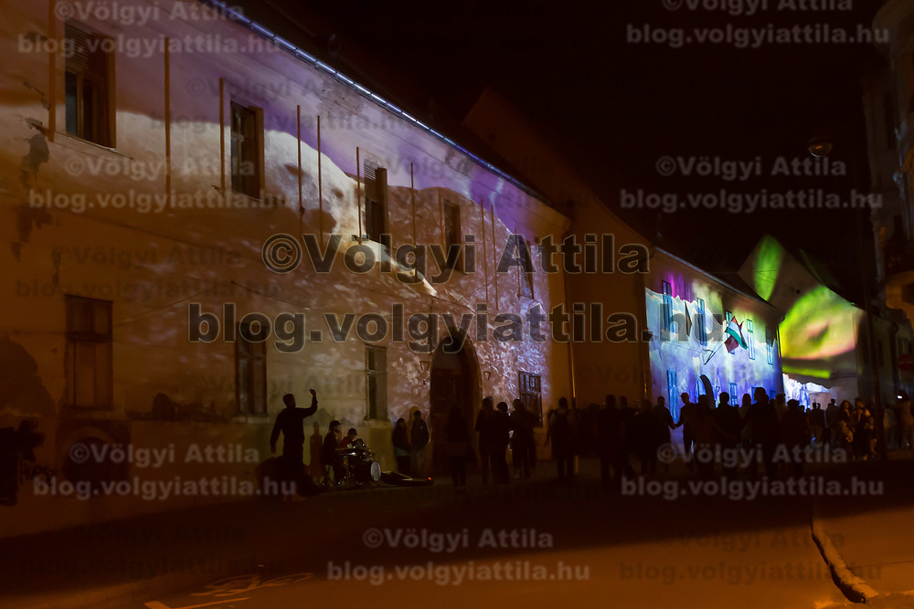 Buildings are projected with images of an artistic light installations during the Zsolnay Light Festival held in central Pecs, Hungary on June 30, 2018. ATTILA VOLGYI