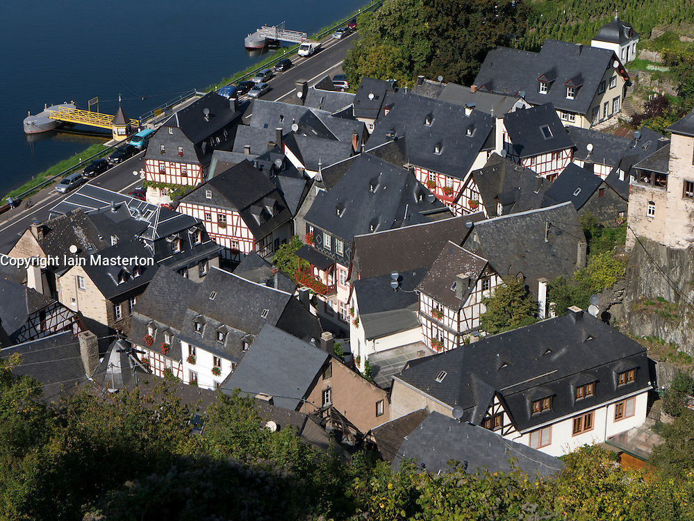 View of historic village of Beilstein  in Mosel Valley Rhineland Germany