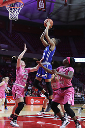 NORMAL, IL - February 10: Daijah Smith shoots while doubled by Kayel Newland and Te Te Maggett during a college women's basketball Play4Kay game between the ISU Redbirds and the Indiana State Sycamores on February 10 2019 at Redbird Arena in Normal, IL. (Photo by Alan Look)