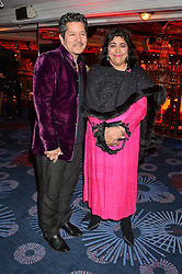 Film director GURINDER CHADHA and her husband PAUL BERGES at the 6th annual Asian Awards held at The Grosvenor House Hotel, Park Lane, London on 8th April 2016.