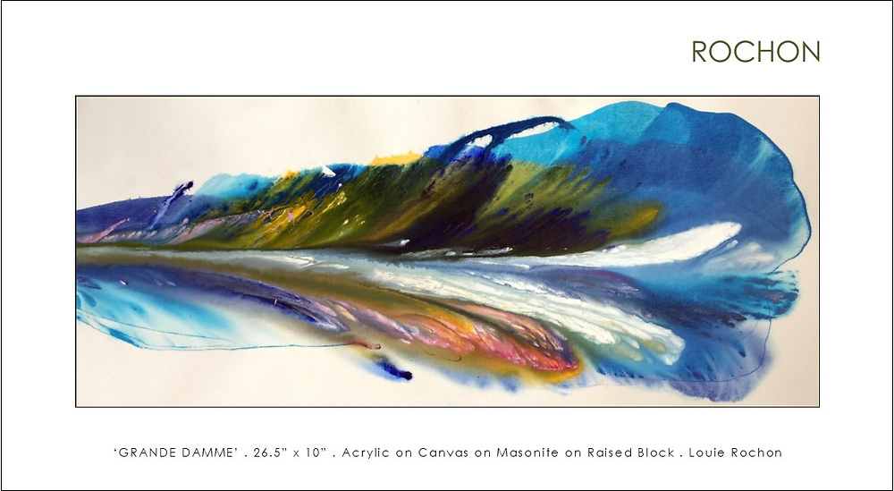 """'Grand Damme' . Abstract Flow Painting, dozens of layers of 'Golden' high flow acrylics onto loose canvas, trimmed and custom mounted onto custom created presentation black lacquered presentation boards with deep hidden backs (1.5"""" to 2.5"""") that appear to 'float' away from the wall. Very Unique presentation! SOLD"""