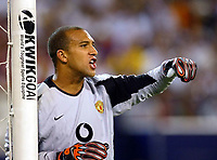 Photo Aidan Ellis.<br />Manchester United v juventus (Champions World Match at New York Giants Stadium East Rutherford).31/07/03.<br />United keeper Tim Howard gives out some instructions in his 1st game for United