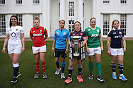 Sarah Hunter, the England women's captain, Rachel Taylor, the Wales Women's captain, Sara Barattin, the Italy Women's captain, Gaelle Mignot, the France Women's captain (holding the Women's Six Nations Trophy) Niamh Briggs, the Ireland Women's captain and Lisa Martin, the Scotland Women's captain pose for a photograph at the RBS Six Nations 2017 media launch at the Hurlingham Club, Ranelagh Gardens in London on Wednesday 25th January 2017.<br /> pic by John Patrick Fletcher, Andrew Orchard sports photography.
