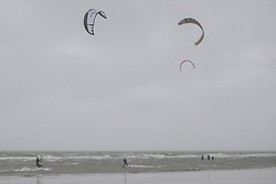 © Licensed to London News Pictures. 03/10/2020. Wallasey, UK. Kitesurfers at Wallasey, Merseyside embrace the extreme weather brought by Storm Alex. Photo credit: Kerry Elsworth/LNP