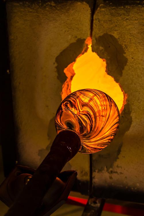 Glassblowing at Garden City Glass, Jewell Gardens, Skagway, Alaska USA.