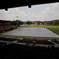 June 04, 2011; Tallahassee, FL, USA; The stadium is evacuated due to severe weather approaching the area leading to the suspension of play in the eighth inning of the Tallahassee regional of the 2011 NCAA baseball tournament with UCF Knights leading the Bethune-Cookman Wildcats 14-5 at Dick Howser Stadium. Mandatory Credit: Derick E. Hingle