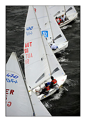 470 Class European Championships Largs - Day 1.Racing in grey and variable conditions on the Clyde..AUT11, Calvin CLAUS, Alexander KOHLENDORFER, Union Yachtclub Neusiedl