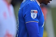 SKY BET EFL sleeve patch during the EFL Sky Bet League 1 match between Portsmouth and Blackpool at Fratton Park, Portsmouth, England on 24 February 2018. Picture by Adam Rivers.