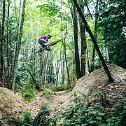 Zaid Elgawarsha grabs huge air on the jump track in Bellingham Washington.