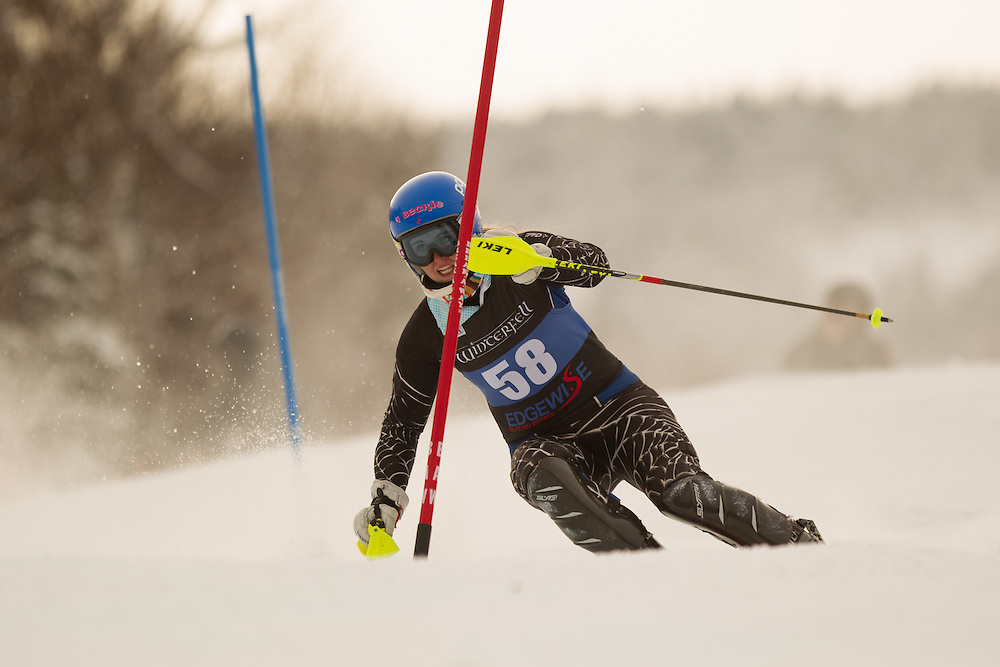 Leah Fowler, skis during the first run of the women's slalom at the Colby College Carnival at Sugarloaf Mountain on January 18, 2014 in Carabassett Valley, ME. (Dustin Satloff/EISA)