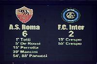Roma 09/5/2007<br /> Coppa Italia Finale Andata<br /> Roma-Inter<br /> Photo Luca Pagliaricci INSIDE<br /> IL TABELLONE DELLO STADIO OLIMPICO A FINE PARTITA