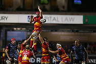 Cory Hill, the Dragons captain in a line out. . Guinness Pro14 rugby match, Cardiff Blues v Dragons at the Cardiff Arms Park in Cardiff, South Wales on Friday 6th October 2017.<br /> pic by Andrew Orchard, Andrew Orchard sports photography.