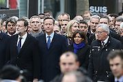 """(L-R) Spain's PM Mariano Rajoy, Britain's PM David Cameron, Paris mayor Anne Hidalgo, EU Commission President Jean-Claude Juncker - 44 CHEFS D' ETAT ET CHEFS DE GOUVERNEMENT ETRANGER ONT MARCHE A PARIS AUTOUR DU PRESIDENT FRANCOIS HOLLANDE - MARCHE REPUBLICAINE A PARIS CONTRE LE TERRORISME ET EN MEMOIRE DES VICTIMES DES ATTENTATS AU JOURNAL """"CHARLIE HEBDO"""" ET AU SUPERMARCHE """"HYPER CACHER"""".<br /> ©Exclusivepix Media"""
