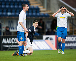 Falkirk's Conor McGrandles brought down for the first penalty.<br /> Falkirk 1 v 1 Morton, Scottish Championship game today at The Falkirk Stadium.<br /> © Michael Schofield.