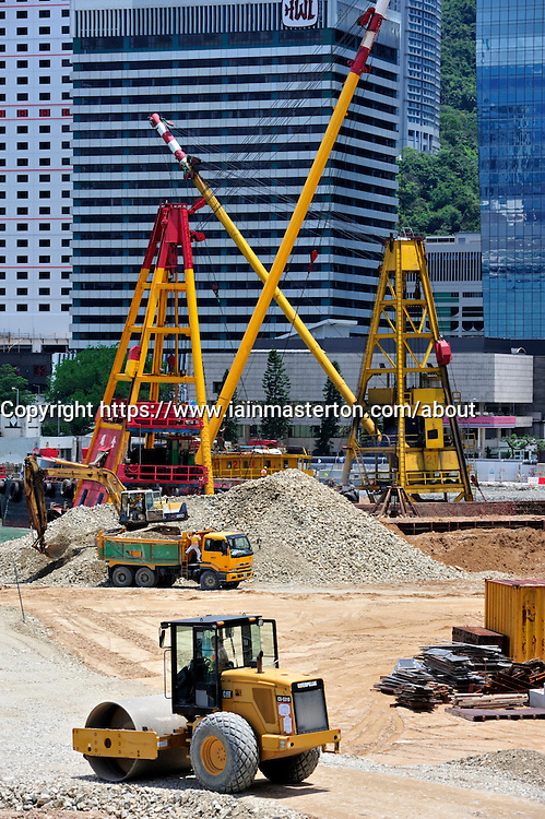 Major reclamation works in progress in Victoria Harbour for future transport and office developments in Hong Kong July 2008