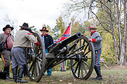 Arkansas, AR, USA, Old Washington State Park, Civil War Weekend, A confederate artillery camp 10 pounder cannon.