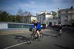 © Licensed to London News Pictures. 22/04/2019. London, UK. Cyclists enjoying the warm temperatures in the early morning at Little Venice in London on what has been a record breaking Easter bank holiday weekend for temperatures. Photo credit: Ben Cawthra/LNP