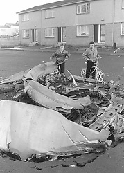 File photo dated 22/12/1988 of two boys looking at wreckage of Pan Am flight 103 in Lockerbie after the plane was blown apart by a terrorist bomb.