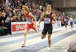 Belgium (right) wins gold with Spain wins silver at the Men's 4x400m Relay Final during day three of the European Indoor Athletics Championships at the Emirates Arena, Glasgow.