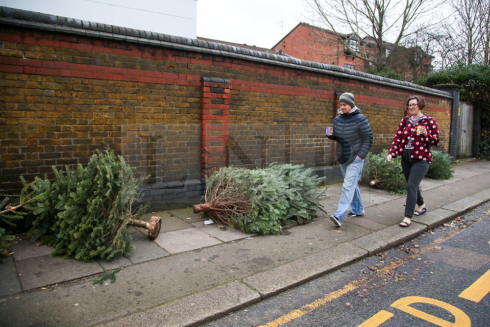 © Licensed to London News Pictures. 26/12/2020. London, UK. Women walk past a line of discarded Christmas trees on a pavement in Haringey, north London on Boxing Day. Traditionally Christmas decorations including the tree are taken down on Twelfth Night after Christmas Day. Photo credit: Dinendra Haria/LNP