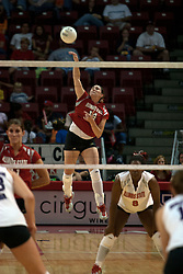 25 September 2004    Laura Doornbos on the serve.     Illinois State University Redbirds V University of Northern Iowa Panthers Volleyball.  Redbird Arena, Illinois State University, Normal IL