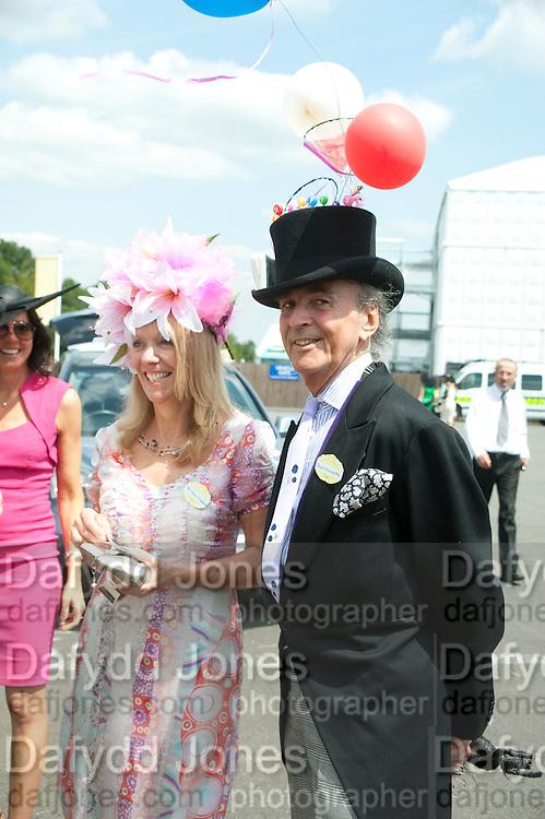 MRS. JANINE FITZGERALD, HATMAKER; DAVID SHILLING, Royal Ascot. Tuesday. 14 June 2011. <br /> <br />  , -DO NOT ARCHIVE-© Copyright Photograph by Dafydd Jones. 248 Clapham Rd. London SW9 0PZ. Tel 0207 820 0771. www.dafjones.com.