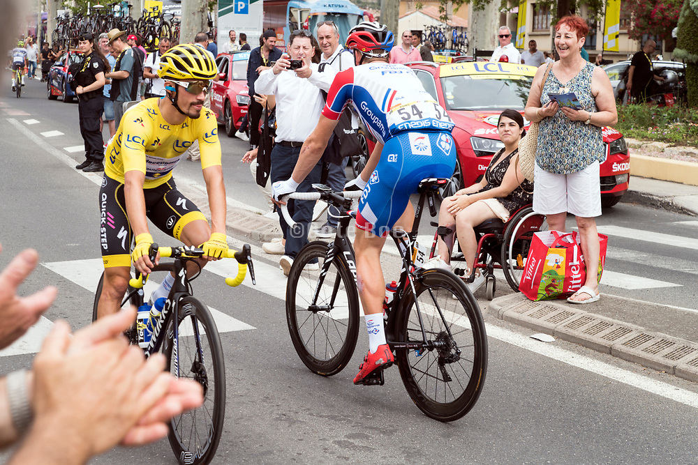 21 July 2019,  Tour de France, before the start of the stage 15 in Limoux with yellow Jersey wearer Julian Alaphilippe and S Kung