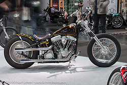 Spok Motor's Juho Rouhu's Hard Soup custom Harley-Davidson Shovelhead / Evo from Helsinki, Finland entry in the AMD World Championship of Custom Bike Building show in the custom themed Hall 10 at the Intermot Motorcycle Trade Fair. Cologne, Germany. Tuesday October 4, 2016. Photography ©2016 Michael Lichter.
