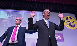 © Licensed to London News Pictures. 28/02/2015. Margate, UK. L-R Paul Nuttall and Nigel Farage at the second day of the conference.  The UKIP spring conference at Margate Winter Gardens 28th February 2015. Photo credit : Stephen Simpson/LNP