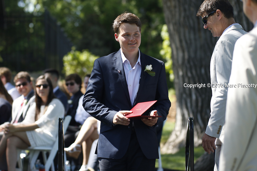 SHOT 6/2/16 9:39:34 AM - Colorado Academy Class of 2016 Commencement ceremonies at the Denver, Co. private school. The school graduated 88 seniors this year and the event capped a week filled with awards, tributes, and celebrations for the outgoing senior class. (Photo by Marc Piscotty / © 2016)