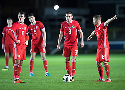 NEWPORT, WALES - Tuesday, October 16, 2018: Wales' Robbie Burton, Rhys Norrington-Davies and Joseff Morrell during the UEFA Under-21 Championship Italy 2019 Qualifying Group B match between Wales and Switzerland at Rodney Parade. (Pic by Laura Malkin/Propaganda)