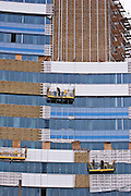 Yekaterinburg, Russia, 03/04/2006..Construction work at an enormous new commercial complex in the city centre.