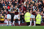Scott Arfield of Burnley (l) celebrates with his teammates after scoring his teams 2nd goal. Premier League match, Burnley v Everton at Turf Moor in Burnley , Lancs on Saturday 22nd October 2016.<br /> pic by Chris Stading, Andrew Orchard sports photography.