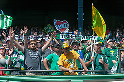 May 13, 2018 - Portland, OR, U.S. - PORTLAND, OR - MAY 13: Portland Timbers fans celebrate the Portland Timbers 1-0 victory over the Seattle Sounders on May 13, 2018, at Providence Park in Portland, OR. (Photo by Diego Diaz/Icon Sportswire) (Credit Image: © Diego Diaz/Icon SMI via ZUMA Press)