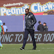 Patrick Vieira, head coach of NYCFC, heads to the dressing rooms at the half time break during the New York City FC Vs New England Revolution, MSL regular season football match at Yankee Stadium, The Bronx, New York,  USA. 26th March 2016. Photo Tim Clayton
