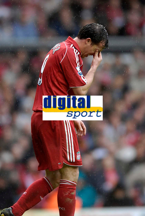 Photo: Jed Wee/Sportsbeat Images.<br /> Liverpool v Charlton Athletic. The Barclays Premiership. 13/05/2007.<br /> <br /> An emotional Robbie Fowler makes his last appearance at Anfield, as he scrunches his eyes at a missed chance to score on his farewell.