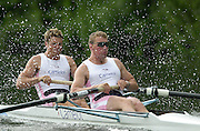 Henley on Thames, United kingdom, SILVER GOBLETS AND NICHALLS' Challenge Cup Bow, James Cracknell and Matthew Pinsent - Leander Club.  Annual 2002 Henley Royal Regatta, Henley Reach, River Thames, England, [Mandatory Credit: Peter Spurrier/Intersport Images] 20020703 Henley Royal Regatta, Henley, Great Britain