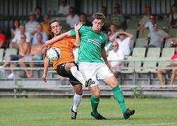Peter Benjaminsen (FC Helsingør) og Jesper Kristoffersen (Avarta) under kampen i 2. Division Øst mellem Boldklubben Avarta og FC Helsingør den 19. august 2012 i Espelunden. (Foto: Claus Birch).