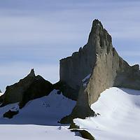 ANTARCTICA, Queen Maud Land.  Fenris Mountains.  North face of 2931m Ulvetanna (in sun).  2721m Kinntanna on left. Sigyn Glacier bkg.
