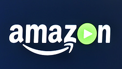 Stock photo of the amazon video app logo, on a smart television.