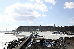 Picture taken on February 6, 2018 shows the construction site to build sea walls for protecting the 2011 tsunami hit area from waves and tsunami in Fukushima prefecture.<br /> A massive earthquake on March 11, 2011 sent a tsunami into Japan's northeast coast, leaving more than 18,000 people dead or missing and causing Fukushima nuclear crisis, which made residents near the Daiichi power plant fled their homes and business. Photo by Farzaneh Khademian/ABACAPRESS.COM