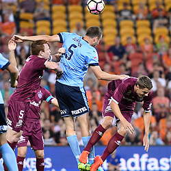 BRISBANE, AUSTRALIA - NOVEMBER 19: Matt Jurman of Sydney heads the ball during the round 7 Hyundai A-League match between the Brisbane Roar and Sydney FC at Suncorp Stadium on November 19, 2016 in Brisbane, Australia. (Photo by Patrick Kearney/Brisbane Roar)