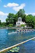 """Henley on Thames, United Kingdom, 22nd June 2018, Friday,   """"Henley Women's Regatta"""",  view, Championship *= entry Drexel University USA, pass the Temple {folly] on Temple Island,  Henley Reach, Thames Valley, River Thames, England, © Peter SPURRIER"""