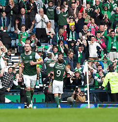 Hibernian's Leigh Griffiths cele scoring their winning fourth goal..Hibernian 4 v 3 Falkirk, William Hill Scottish Cup Semi Final, Hampden Park..©Michael Schofield..