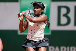 May 29, 2019 - Paris, FRANCE - Sloane Stephens of the United States in action during her second-round match at the 2019 Roland Garros Grand Slam tennis tournament (Credit Image: © AFP7 via ZUMA Wire)
