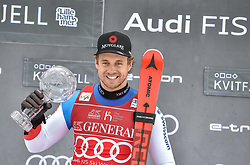 08.03.2020, Kvitfjell, NOR, FIS Weltcup Ski Alpin, SuperG, Herren, Siegerehrung SuperG Weltcup Saison 2019/20, im Bild Mauro Caviezel (SUI, Saison 2019/20 SuperG Weltcup 1. Platz) // SuperG World Cup overall winner Mauro Caviezel of Switzerland for the men's Super G overall ranking of FIS ski alpine world cup 2019/20 season. Kvitfjell, Norway on 2020/03/08. EXPA Pictures © 2020, PhotoCredit: EXPA/ Jonas Ericson