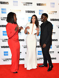 Viola Davis, Michelle Rodriguez and Daniel Kaluuya arriving for the 62nd BFI London Film Festival Opening Night Gala screening of Widows held at Odeon Leicester Square, London.